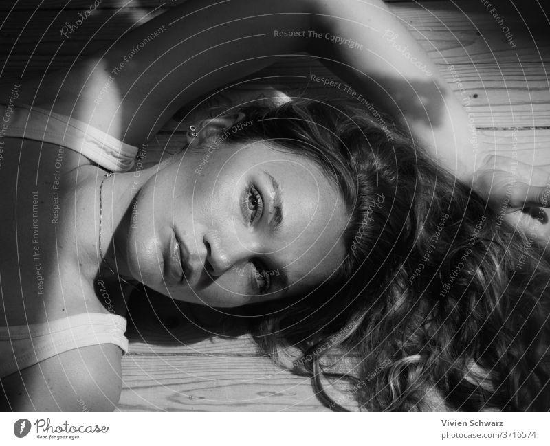 OLYMPUS DIGITAL CAMERA Portrait photograph portrait Black & white photo black and white Women's eyes women Hair close up Shadow Beautiful Beauty Photography