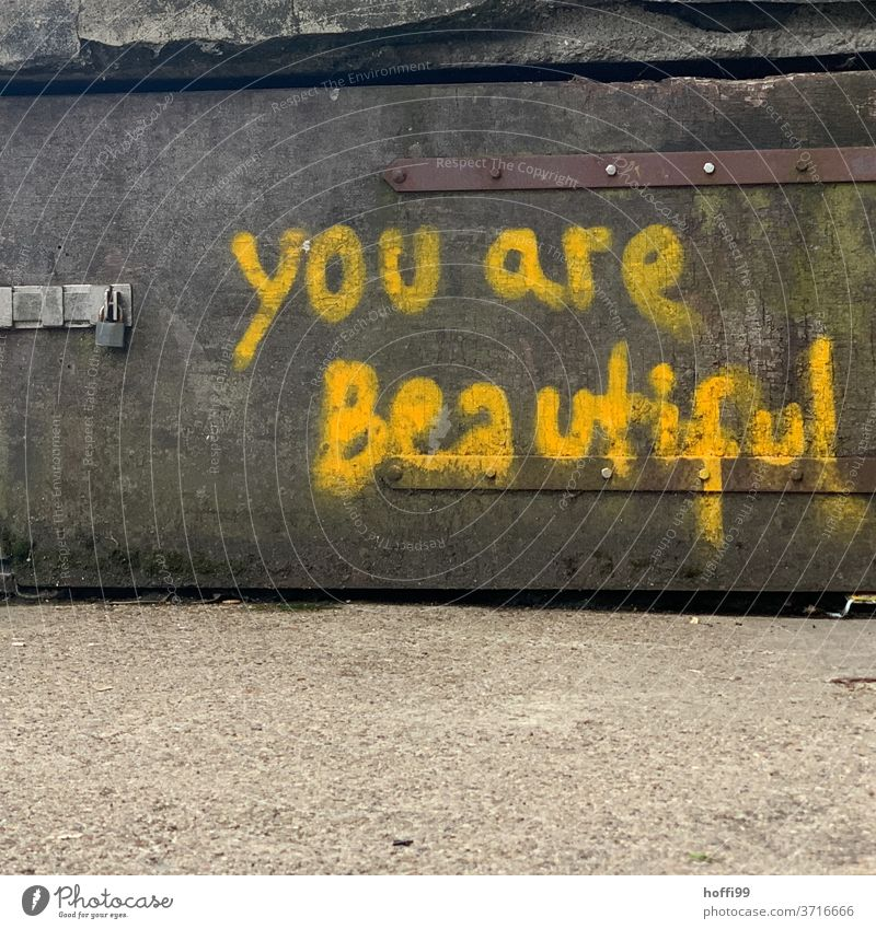 You are beautiful - you are beautiful Graffiti embassy Wall (building) Remark Meaningful Characters Sign Daub Facade Text Day Letters (alphabet) Subculture