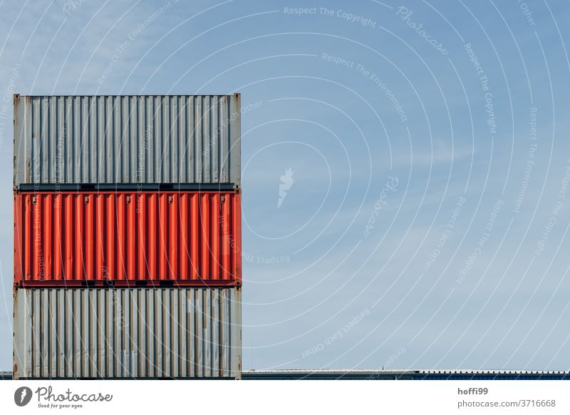 stacked containers in port - grey red grey Red Container terminal red container Industry Logistics Navigation deal Container ship logistics Harbour