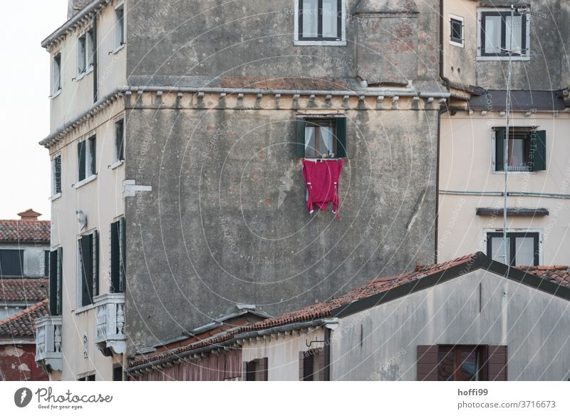 washing day - the red bathrobe hangs outside the window to dry Bathrobe Red Washing day dry laundry Window Old town Venice venice different Living or residing