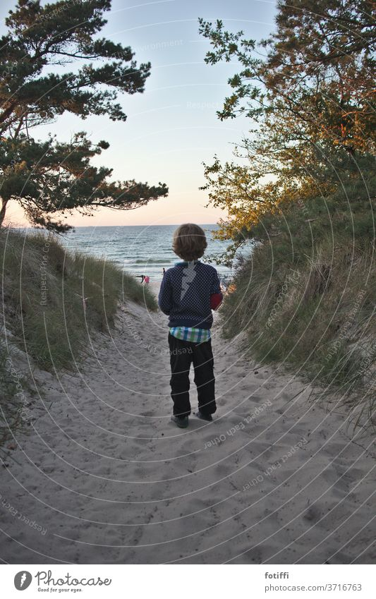 Boy at the entrance to the sandy beach Boy (child) Sand Sandy beach Rügen Ocean Water vacation Vacation photo Vacation mood sea view Child Dreamily Smooth
