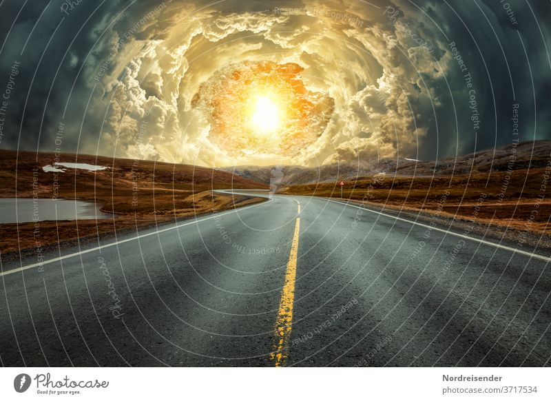 apocalypse vision surreal end time lost Gooseflesh Country road Street Time travel Apocalypse postapocalypse Clouds Tunnel person universe Dimension Abstract