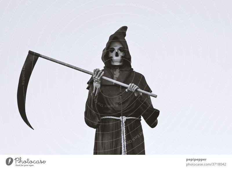 SENSENMANN The Grim Reaper Death Creepy Hallowe'en Colour photo Skeleton Death's head Fear Human being Head Fear of death Threat Old Bone by hand Scythe Frock