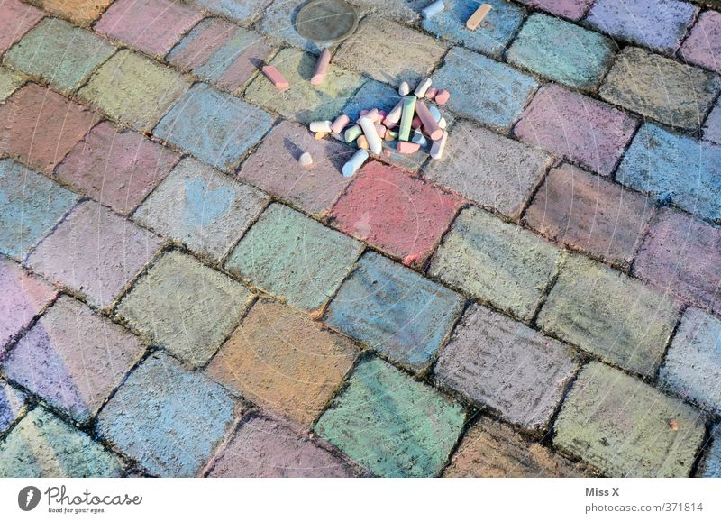 hard work Leisure and hobbies Playing Art Multicoloured Colour Chalk street chalk street-painting chalk crayon Painting (action, artwork) Rectangle Cobblestones