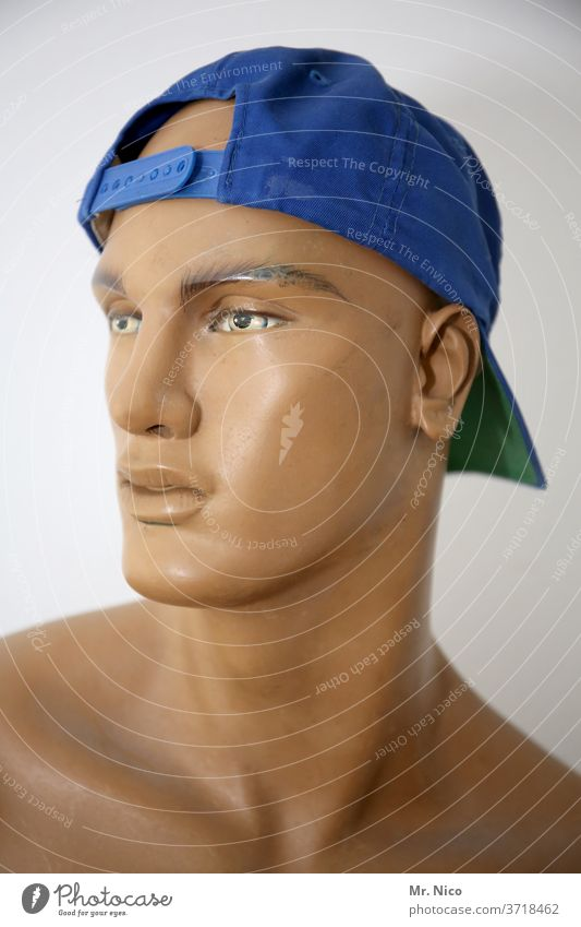 cool dolly Mannequin cap Decoration Clothing Doll Shop window Looking Lifestyle Fashion Model Naked Blue tanned Baseball cap baseball caddy Face Accessory