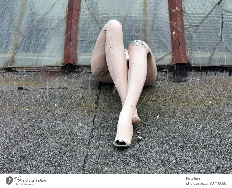 The legs of a mannequin in scene. Where's the rest of the mannequin? I have no idea! Mannequin Doll Woman Legs incomplete Old Broken plastic Plastic Ground