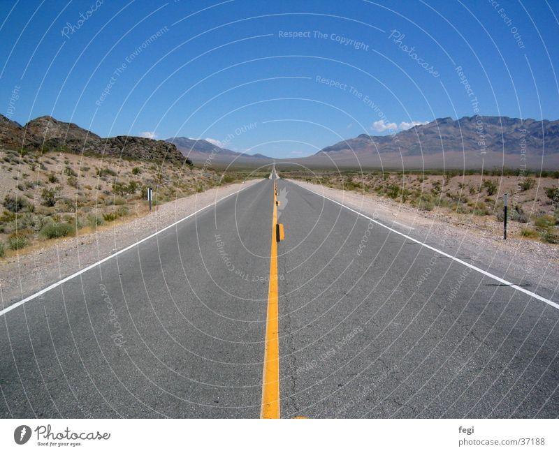 Road to nowhere Traffic lane Nevada Utah Infinity Vantage point Horizon Hill Wanderlust Transport Street Highway USA Desert Sky Landscape Mountain