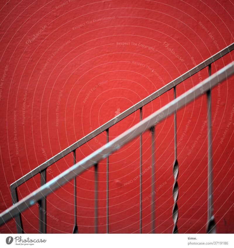 Bochum Stairway Metal Wall (barrier) Wall (building) Ladder Dry Inspiration Red Stairs Handrail Banister Delicate