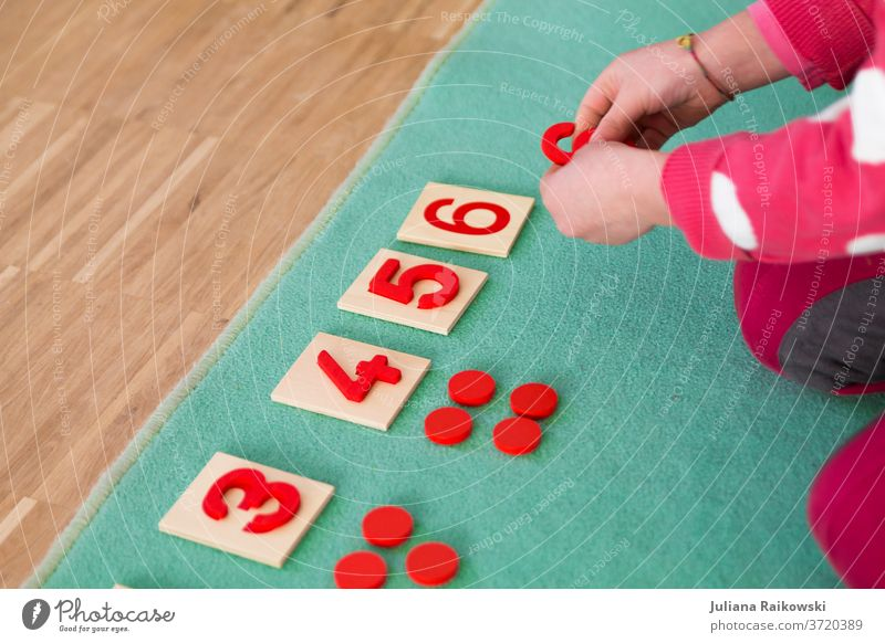 Child learns to count Playing Study Infancy Colour photo Joy Education Kindergarten School Toddler Toys Multicoloured Small Preschool preschool child