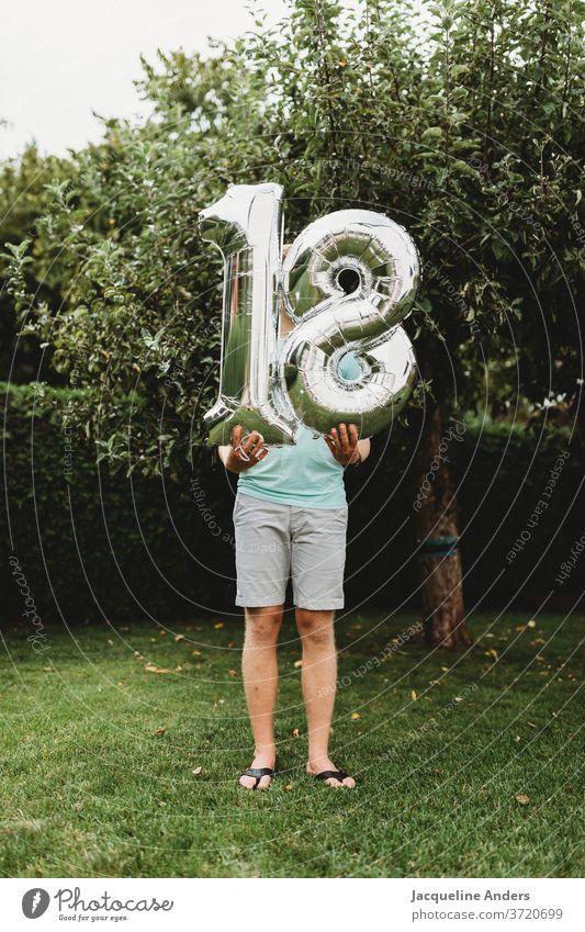18th birthday Birthday figures age Silver Man congratulate Warmest congratulations to celebrations of age Boy (child) Colour photo Decoration Joy Balloon