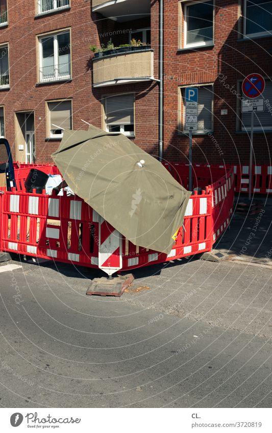 construction site in summer Construction site Roadworks cordon Umbrellas & Shades Street Safety Summer ardor Road construction