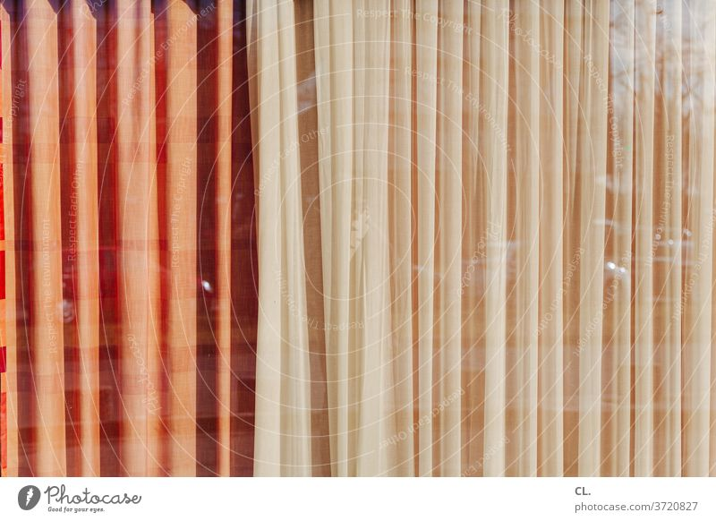 Curtain closed Drape Screening Private sphere Decoration Structures and shapes Reflection Window Window pane Abstract Cloth Pattern Deserted Colour photo