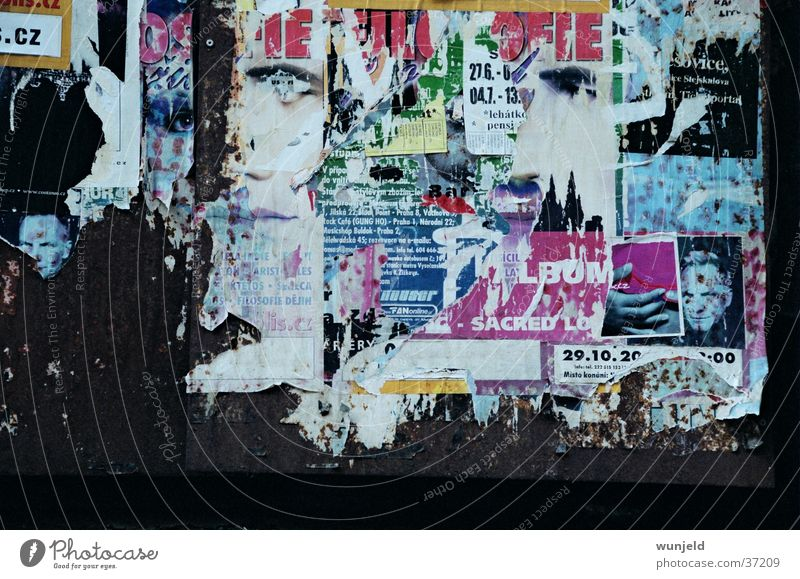 billboard Poster Billboard Foreign countries Broken Bleached Leisure and hobbies Rust Multicoloured Derelict