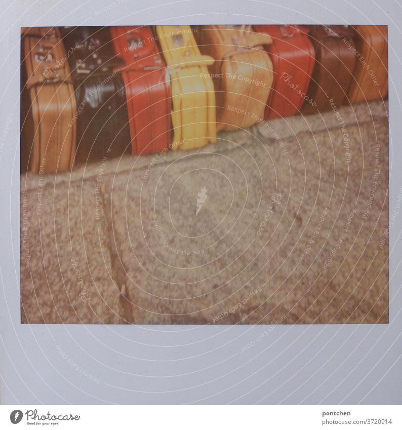 anticipation| the suitcases are packed Suitcase variegated grappled voyage vacation go away Vacation & Travel Tourism Luggage Adventure Polaroid travel