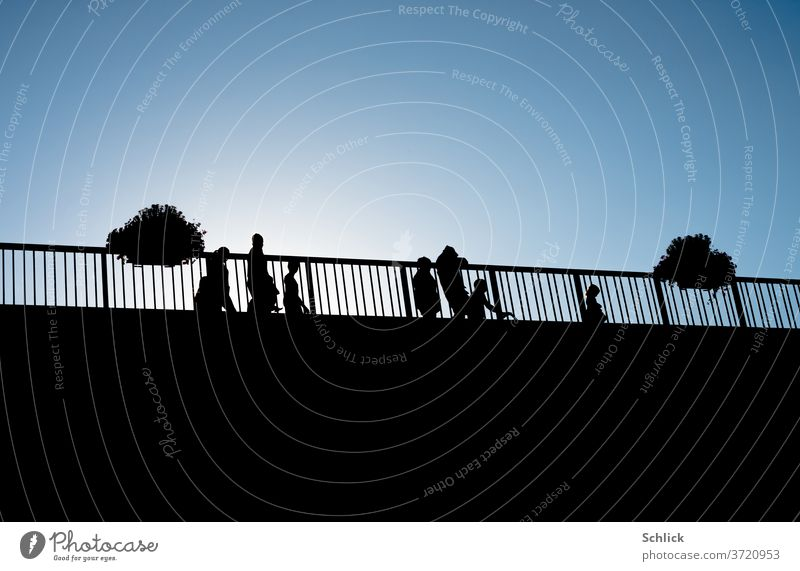 People as silhouettes against the light of a blue sky on a bridge people Back-light Sky Blue Window box Sun Multiple children Adults Family Profile White Black