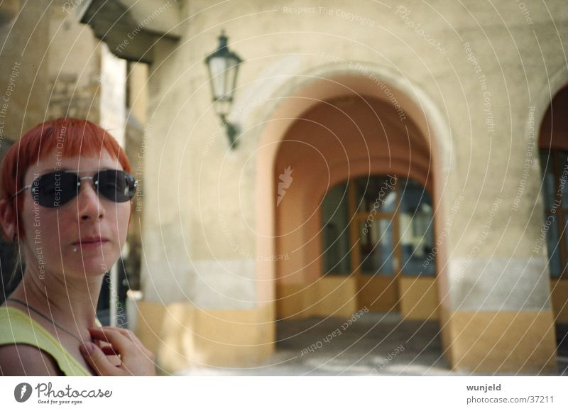 Woman City Vacation & Travel Feminine Sunglasses Red-haired Prague