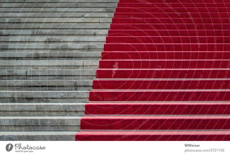 The staircase with the red carpet leads solemnly into the concert hall Stairs stagger Red carpet Berlin Concert House Event detail Abstract diagonal Playhouse