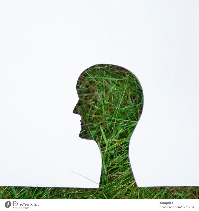 Green in the head Head green Lawn Grass Meadow Nature Environment Protection nature conservation Environmental protection Climate Neutral Climate protection