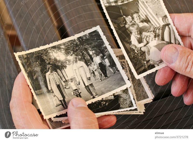 When he found the box with the old black and white photos, he sank for minutes into holiday memories of his own childhood Analog paper image black-white Memory