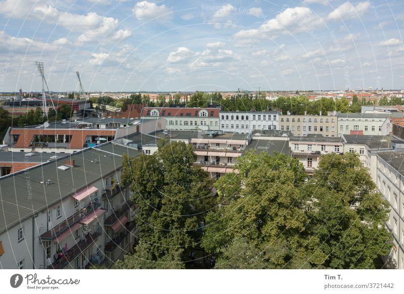 Prenzlauer Berg Berlin Chestnut tree Town Roof Downtown Sky Clouds Skyline Capital city Exterior shot Deserted Day Old town Colour photo