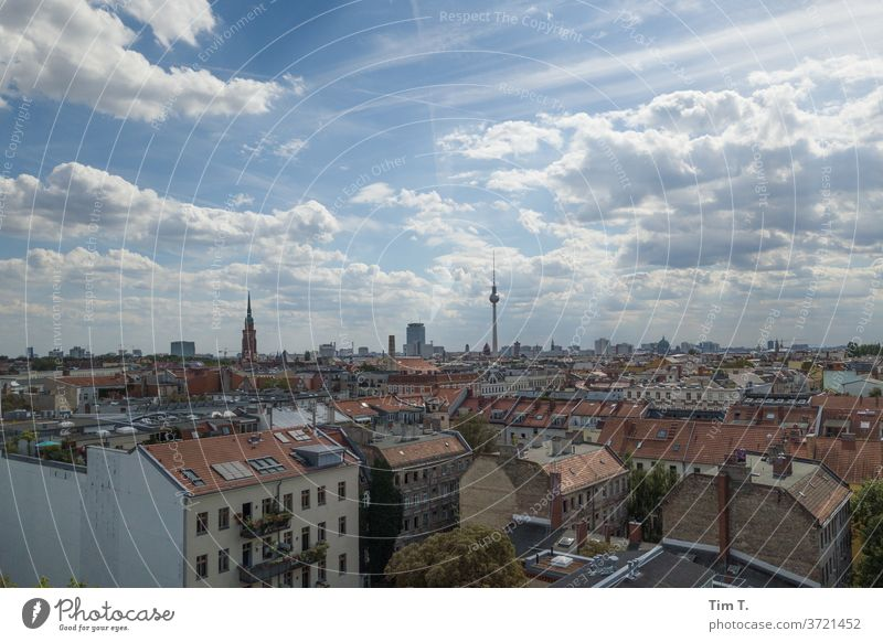 Berlin Prenzlauer Berg Television tower Roof Town Downtown Capital city Exterior shot Old town Day Deserted Colour photo House (Residential Structure) Window