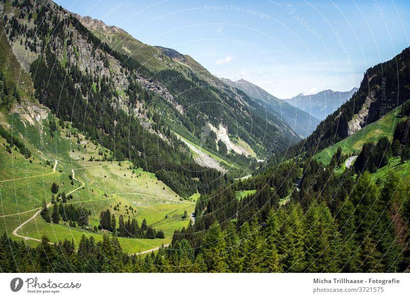 Alpine landscape Kaunertal, Austria Kaunertal Glacier Tyrol Alps mountains Peak valleys rock Rock meadows huts Landscape Nature Sky Clouds Sun sunshine