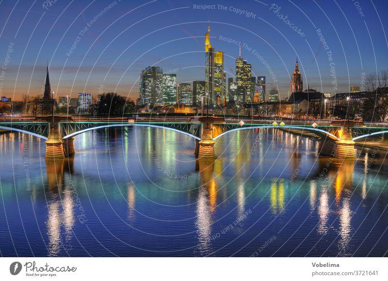 Frankfurt, evening Evening High-rise Main high-rise city evening mood Town City Skyline Rhein-Main area Hesse Germany brd HDR River bridge ignatz-bubis-bridge