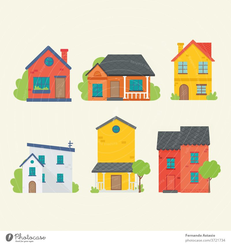 Flat icon of various houses. Flat style vector illustration. home building estate 3d isolated roof white architecture real construction model property red small