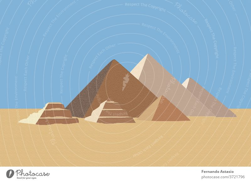Realistic Egyptian pyramids. Famous African historical place in Giza. Tomb of the Egyptian pharaoh, tourist center of Cairo, travel destination. Ancien architecture in sand dunes. Vector illustration.