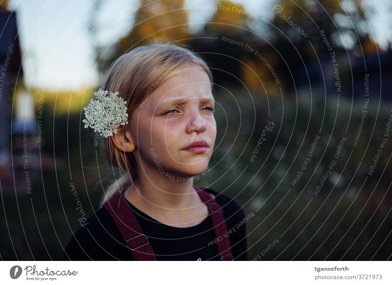 flower child portrait Child Infancy girl Human being 1 Exterior shot 3 - 8 years Day Dream Dreamily Meditative flowers in hair Shallow depth of field Blur