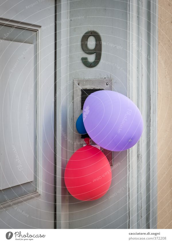 count again Feasts & Celebrations Door House number Balloon Wood Plastic Digits and numbers Simple Happiness Cute Positive Gloomy Town Violet Red Joy
