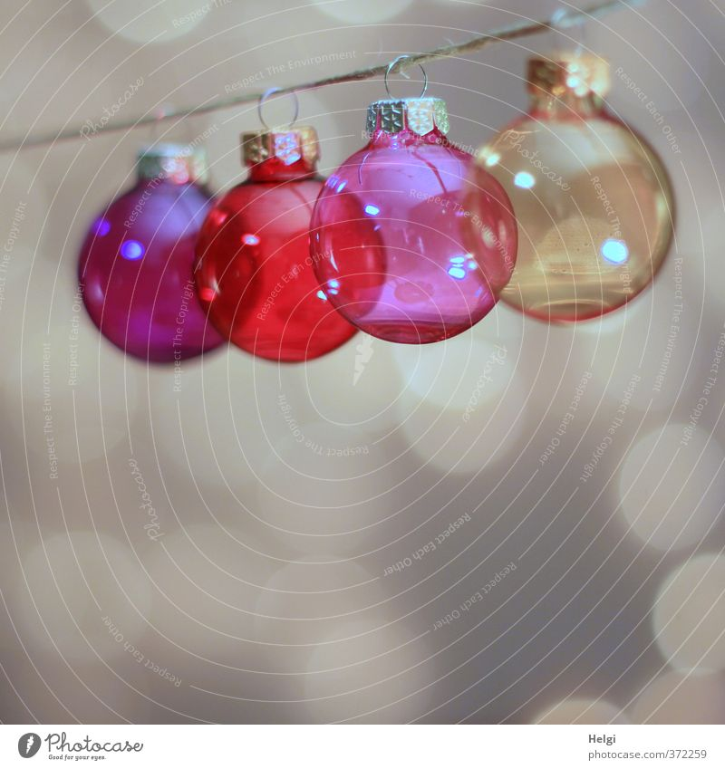 colourful glass christmas tree balls hang on a string, light points in the background Decoration Glitter Ball Christmas & Advent Glass ball String Metal Touch