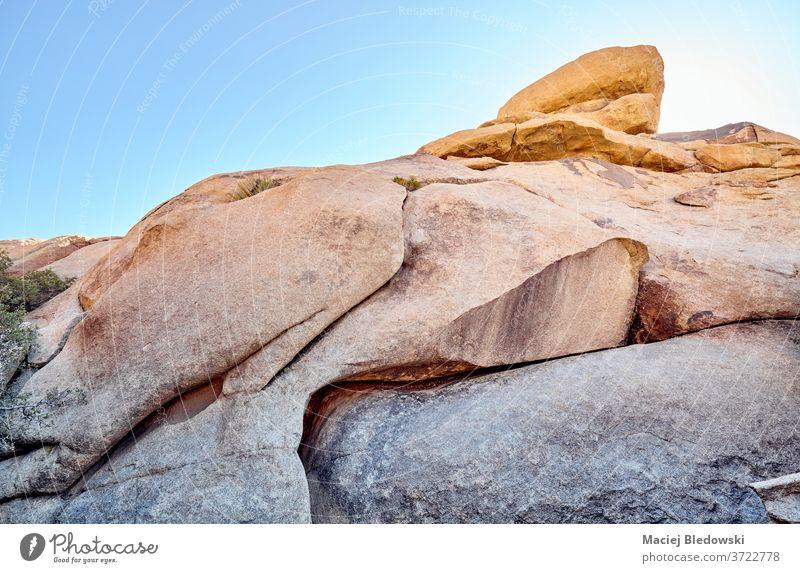 Rock formations in Joshua Tree National Park at sunset, USA. rock erosion metamorphic quartz nature joshua tree national park california usa monzogranite sky
