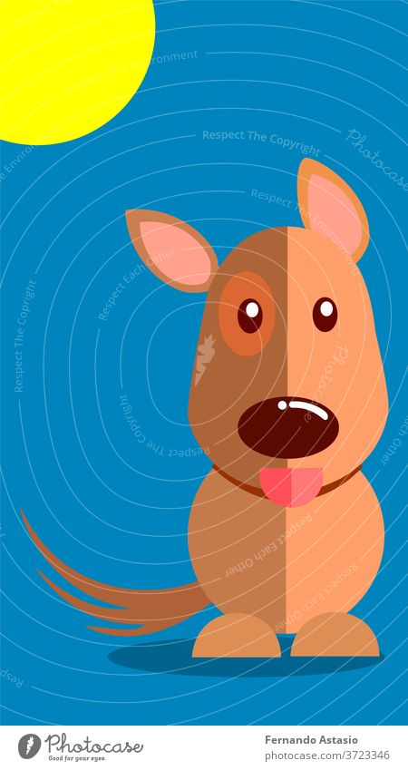 Smiling dog with tongue sticking out vector illustration with blue background. EPS10 vector real time no people color day contemporary natural lighting