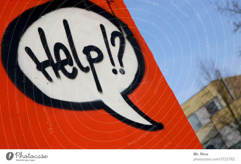 Help !? Seeking help Cry for help Speech bubble Graffiti Red built Wall (barrier) Wall (building) Characters Facade Sky silent message Letters (alphabet)