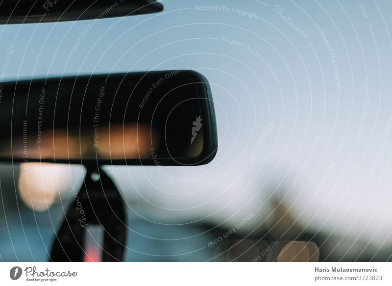 Blurred review mirror in the car close up abstract accessory auto automobile backdrop background beautiful behind blue blur blurred concept design drive driver