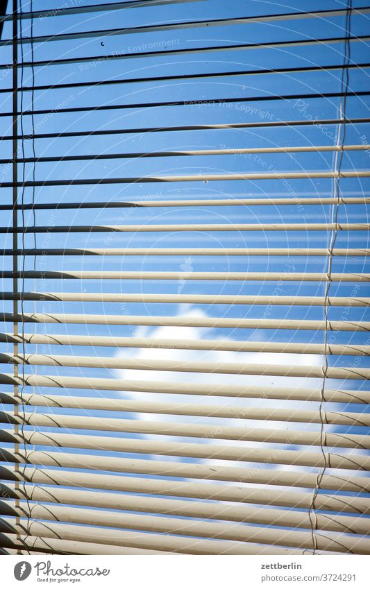 Blinds with sky and sun and cloud Window Sky Venetian blinds light protection Roller blind sun protection obfuscation too Closed shading Shadow Light dwell