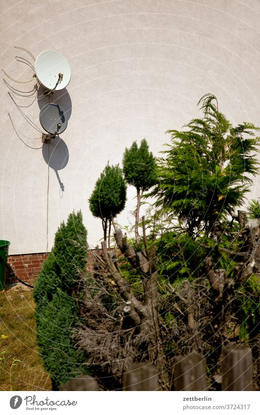 Satellite Dishes Small Town Deserted location Saxony-Anhalt sandersdorf settlement Summer Copy Space urban dwell satellite dish reception satellite reception