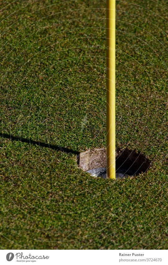 Close-up of hole and flag stick on a golf course birdie close up club copy space daytime fairway field game garden golf club golf flag golf hole golfing grass