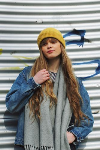 Portrait of a young woman Woman girl street long hairs cap Yellow Blue Blonde Cool already Attractive Model Fashion pretty Human being street style Street life