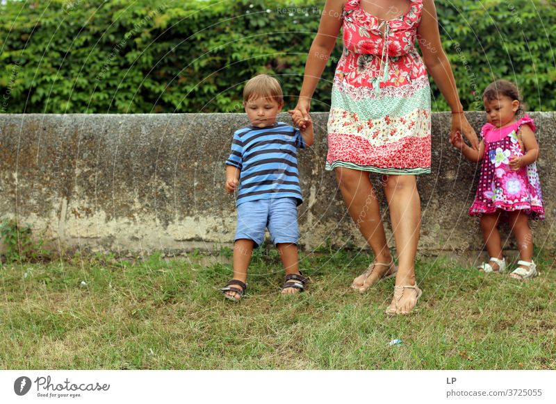mother and 2 kids getting down a hill Parenting Children's game children afraid Safety (feeling of) Hope Complex Contact Protection Adults Brothers and sisters