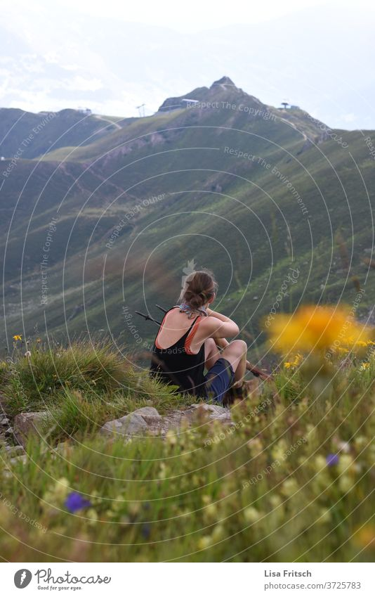 mountains - break - woman - meadow Mountain Hiking Break green Meadow plants Summer 30 - 45 years Nature Love of nature Experiencing nature admiring Experience