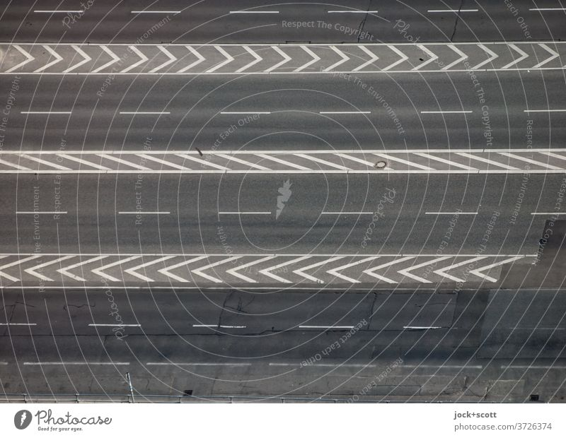 Bird's eye view of the multi-lane road Traffic infrastructure Street Lane markings Structures and shapes Bird's-eye view Asphalt Gray Stripe Line Empty