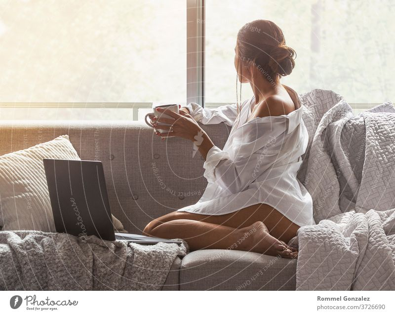 Beautiful and sexy young woman using Laptop While Sitting On Sofa window on luxury apartment. style blonde interior innocence brunette sensual sensuality