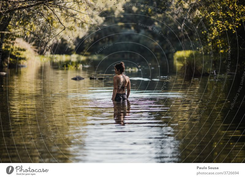 Woman in the river Girl 30 - 45 years River Caucasian Exterior shot Lifestyle 18 - 30 years Youth (Young adults) Human being Adults Colour photo travel