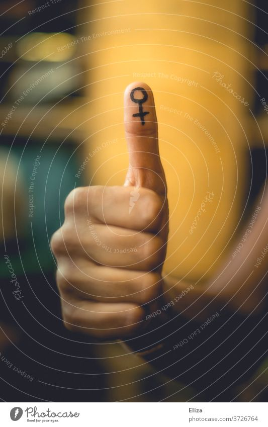 Thumbs up for feminism and emancipation Feminism Emancipation symbol gender equal rights feminine Equality Women's Rights Woman Symbols and metaphors Company