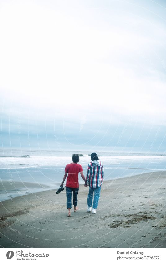 Our Moment couple Couple Lovers Together Relationship Trust Happy Romance Affection Beach Hold hands Walking cloudy cloudy sky young teenager Summer vacation