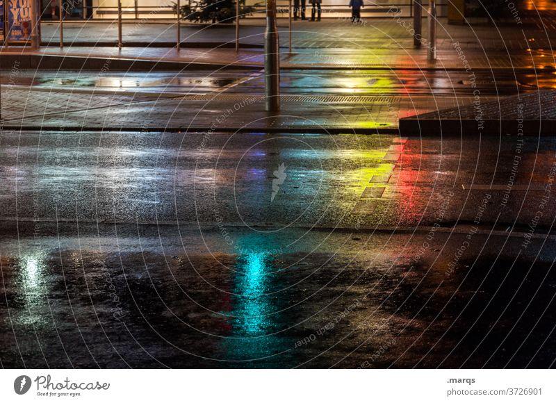 silent night Night Street downtown Asphalt Crosswalk clearer Wet Reflection Colour Empty Pedestrian crossing Lanes & trails Dark