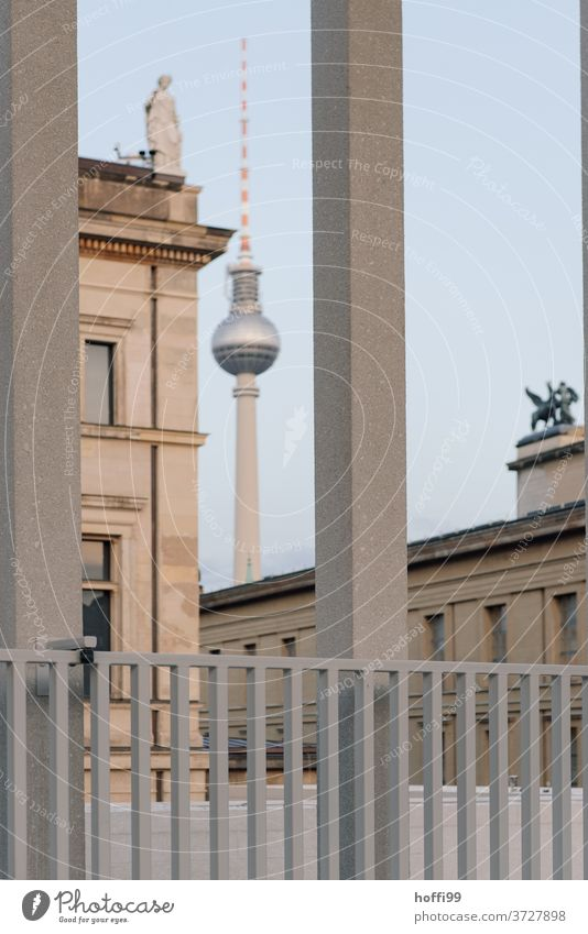 View of television tower and monument Berlin TV Tower framed Capital city Brandenburg Gate Town Landmark Television tower Architecture Germany