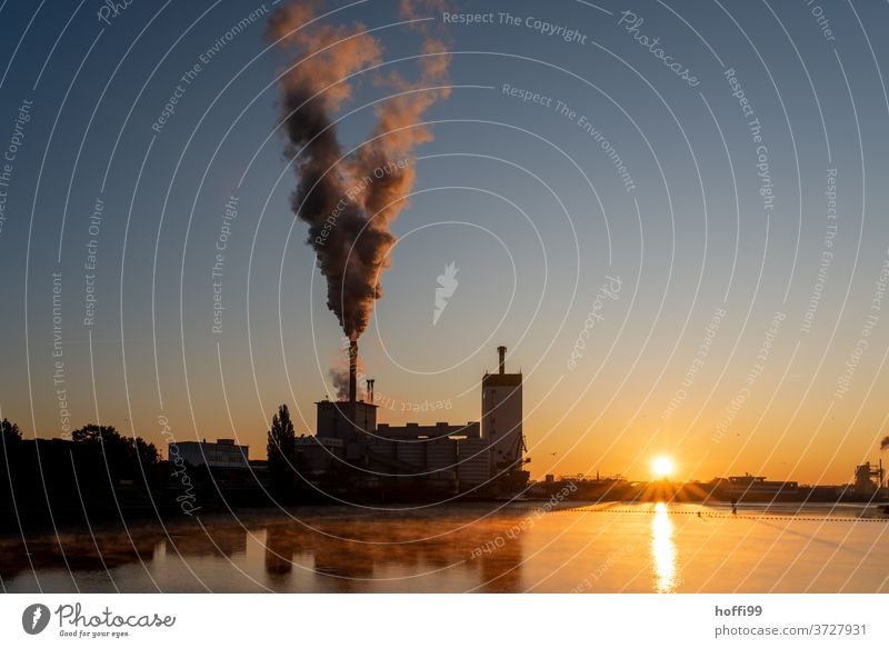 Sunrise over a river with a coal power station Climate change Carbon dioxide Sunrise - Dawn Sunlight CO2 emission Morning fog Coal power station steam cloud Fog